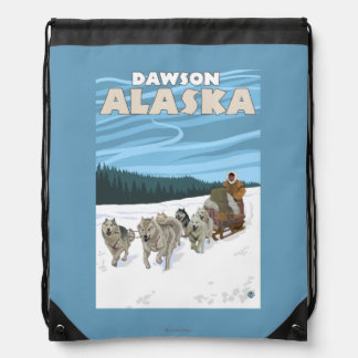 Dog Sledding Scene - Dawson, Alaska Drawstring Backpacks