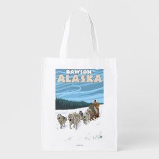 Dog Sledding Scene - Dawson, Alaska Reusable Grocery Bags