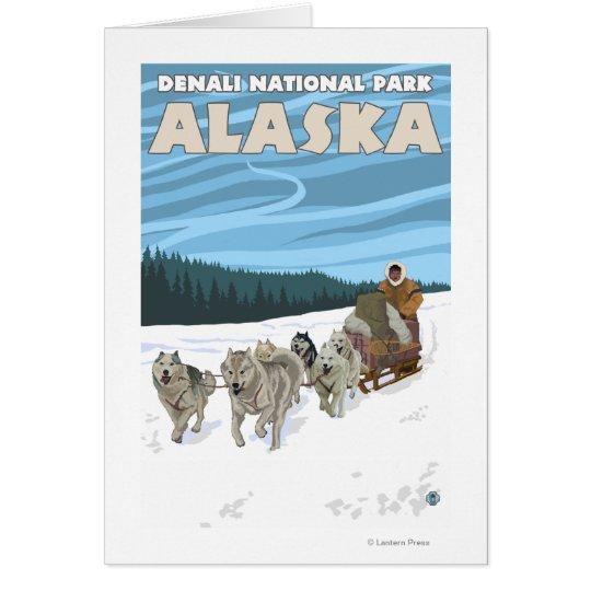 Dog Sledding Scene - Denali Nat'l Park, Alaska Card