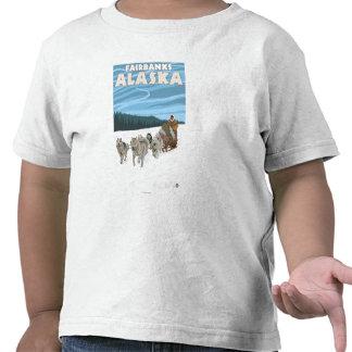 Dog Sledding Scene - Fairbanks, Alaska Tshirts