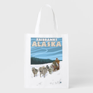 Dog Sledding Scene - Fairbanks, Alaska Grocery Bag