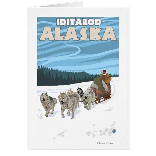 Dog Sledding Scene - Iditarod, Alaska Card