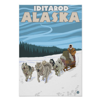 Dog Sledding Scene - Iditarod Alaska Print