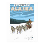 Dog Sledding Scene - Ketchikan, Alaska Postcard