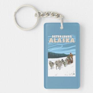 Dog Sledding Scene - Petersburg, Alaska Double-Sided Rectangular Acrylic Keychain