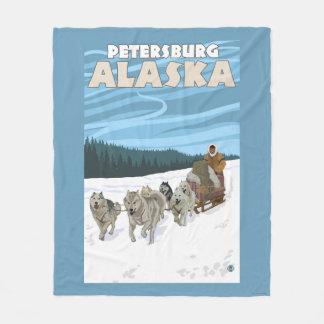 Dog Sledding Scene - Petersburg, Alaska Fleece Blanket
