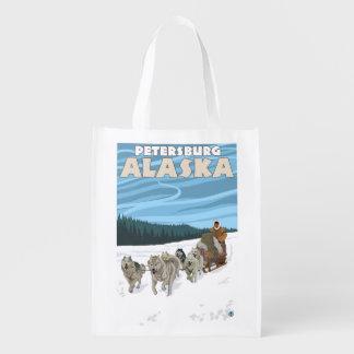 Dog Sledding Scene - Petersburg, Alaska Grocery Bag