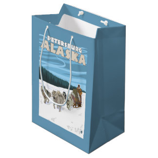 Dog Sledding Scene - Petersburg, Alaska Medium Gift Bag