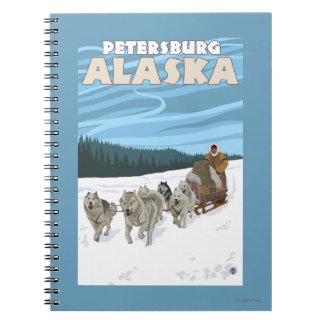 Dog Sledding Scene - Petersburg, Alaska Notebook
