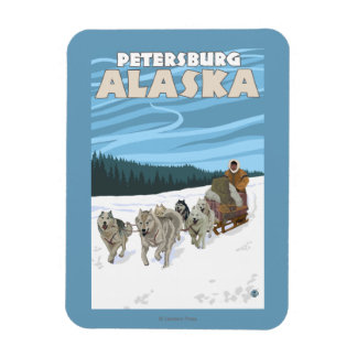 Dog Sledding Scene - Petersburg, Alaska Rectangular Photo Magnet