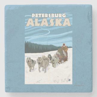Dog Sledding Scene - Petersburg, Alaska Stone Coaster