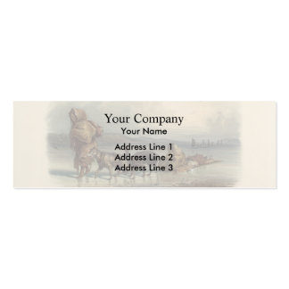 Dog Sledges of the Mandan Indians by Karl Bodmer Double-Sided Mini Business Cards (Pack Of 20)