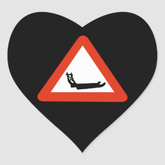Dog Sleds Crossing, Traffic Sign, Greenland Heart Sticker