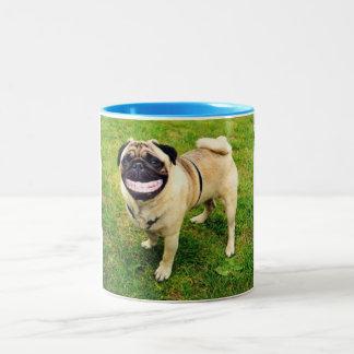 dog smile pug cute Two-Tone coffee mug