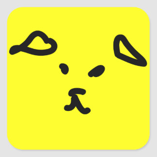 Dog smiley face square sticker