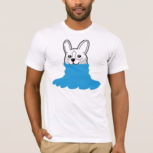 Dog Smiley Turtleneck Blue T-Shirt
