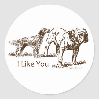 Dog Sniffs Butt Classic Round Sticker