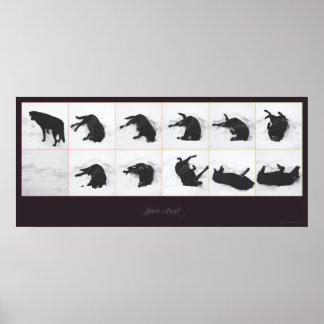 "Dog Snow Angel {black} Poster 36x16"""