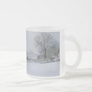 Dog snow scene landscape art christmas design frosted glass coffee mug