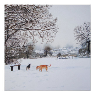Dog snow scene landscape with trees painting poster