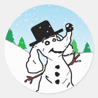 Dog Snowman Classic Round Sticker