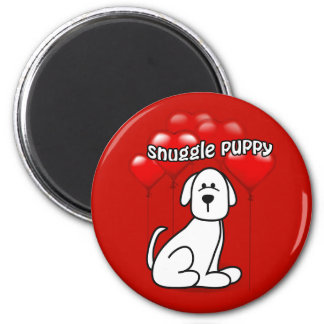 Dog Snuggle Puppy Heart Balloons Valentine Magnet