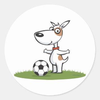 Dog Soccer Classic Round Sticker