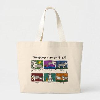 Dog Sports Old English Sheepdog Large Tote Bag