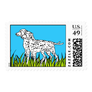 "Dog Stamp - ""Two Dalmatians in a Field"" Postage"