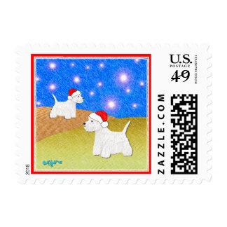 Dog Stamps -Christmas Westies