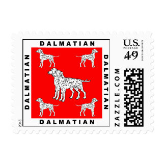 Dog Stamps: Dalmatians with Red Background Postage