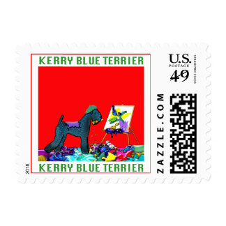 """Dog Stamps - """"Kerry Blue Artist"""" Postage"""