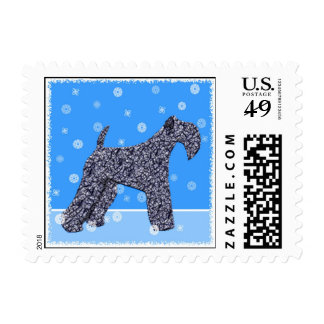 """Dog Stamps - """"Kerry Blue Terrier with Snowflakes"""""""