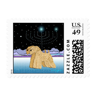 Dog Stamps -  Two Wheaten Terriers at Chanukah