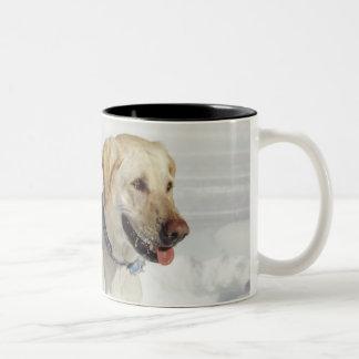 Dog standing in snow Two-Tone coffee mug