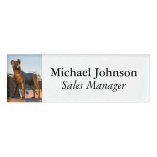 Dog statue name tag