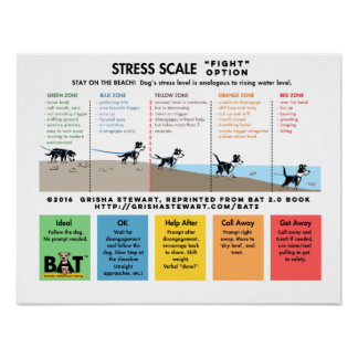 Dog Stress Scale - Scare Away - Beach Analogy Poster