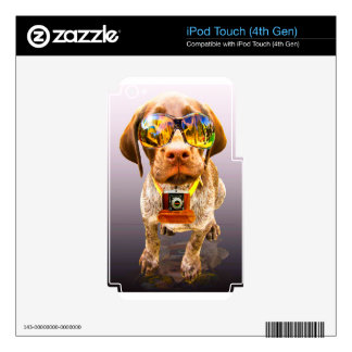 dog sunglasses and a camera in the teeth decal for iPod touch 4G