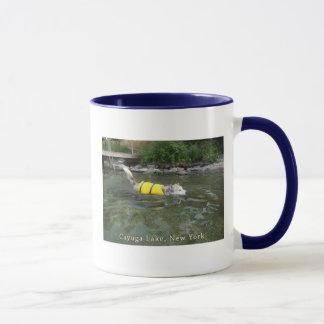 Dog Swimming Cayuga Lake NY Mug