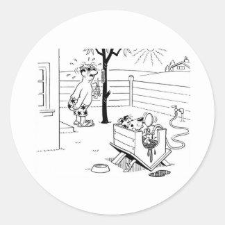 Dog Swimming Pool Classic Round Sticker