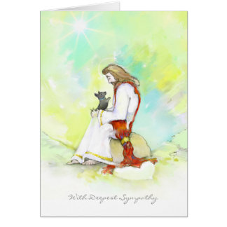 Dog Sympathy Card - Jesus with Little Dog