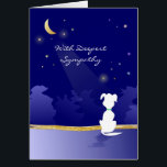"""Dog Sympathy Card - Moon and Stars<br><div class=""""desc"""">Dog Sympathy Card Moon and Stars by Julie Alvarez This heartfelt dog sympathy card features the moon shining down and the stars twinkling against a navy blue background with a white silhouette of a dog, and the words &quot;With Deepest Sympathy&quot;. Front of Card: With Deepest Sympathy Inside Card (Right): Our...</div>"""