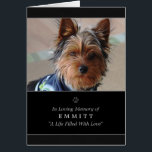 """Dog Sympathy Custom Photo Memorial Card - Black<br><div class=""""desc"""">Dog Sympathy Custom Photo Memorial Greeting Card by Julie Alvarez This is a card for those looking to send a beautiful tribute and sympathy card on the loss of one of their most treasured friends, their beloved dog. Upload your photo on the front and customize the pet&#39;s name. You also...</div>"""