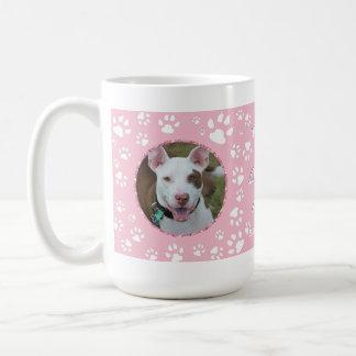Dog Sympathy Memorial Your Photos Paw Print Pink Coffee Mug