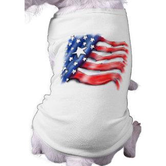 Dog T-Shirt - American USA Flag Design Airbrushed