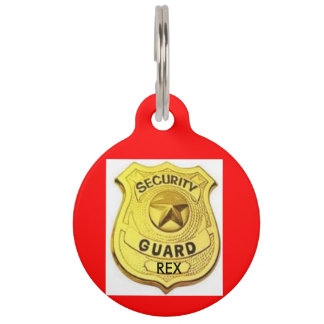 DOG TAG, RED AND GOLD SECURITY GUARD DOG PET ID TAG