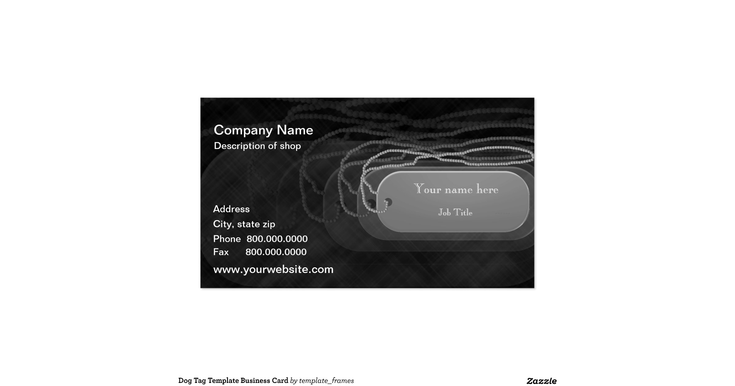 Dog tag template business card for Dog tag business cards