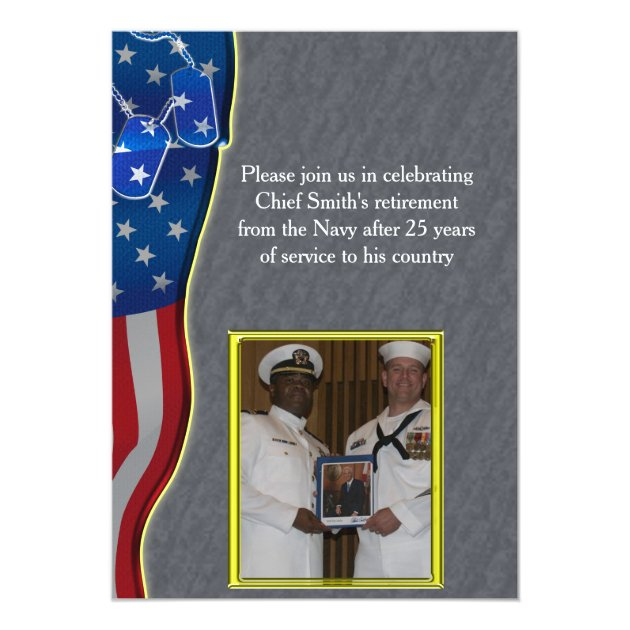 Dog tags and American flag Military Retirement Card