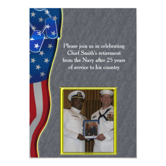 Dog tags and American flag Military Retirement 5x7 Paper Invitation Card