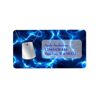 Dog Tags and Blue Lightning Address Label